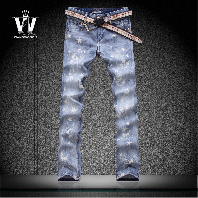 Light blue drawing skull stars print summer flower trousers mens elastic jeans men top brand outerwear