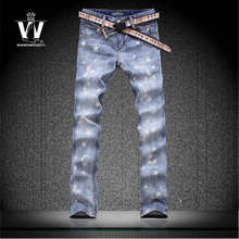 Голубой рисунок черепа звезды печать летом цветочные брюки мужские эластичные джинсы мужчины лучший бренд верхняя одежда импортные одежда человек