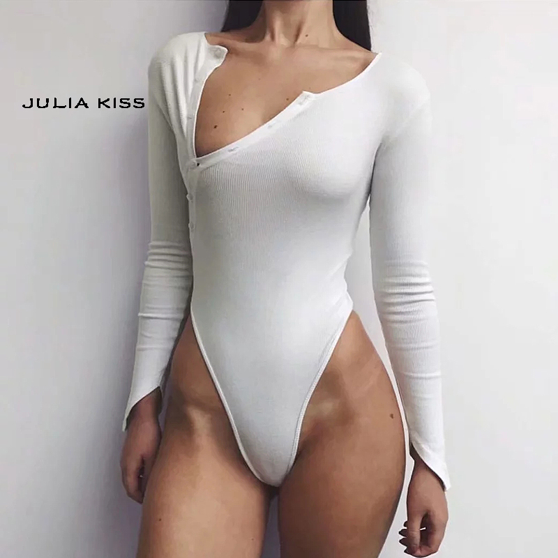 Women Oblique Button Ribbed Bodysuit