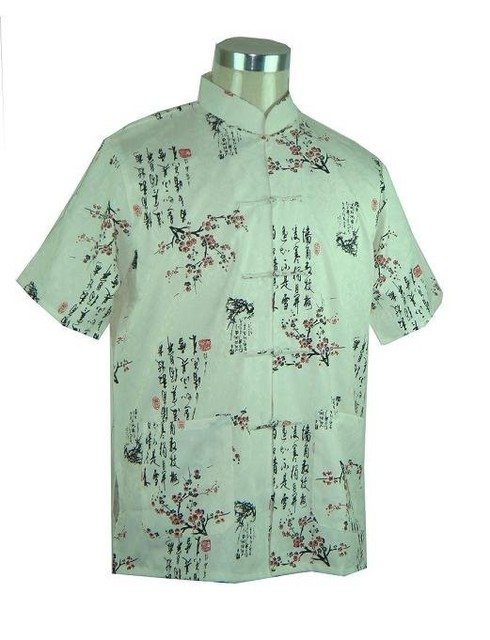 Venda quente Camisa de Algodão Top Curto-Luva dos homens Bege Kung Fu Tang terno Botão Traje Chinês Do Vintage S M L XL XXL XXXL MS017