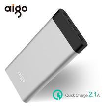 Aigo Power Bank 10000mAh LCD Display Powerbank Ultra Slim Portable External Battery Fast Charger for Samsung for Iphone 6 6s 7 8