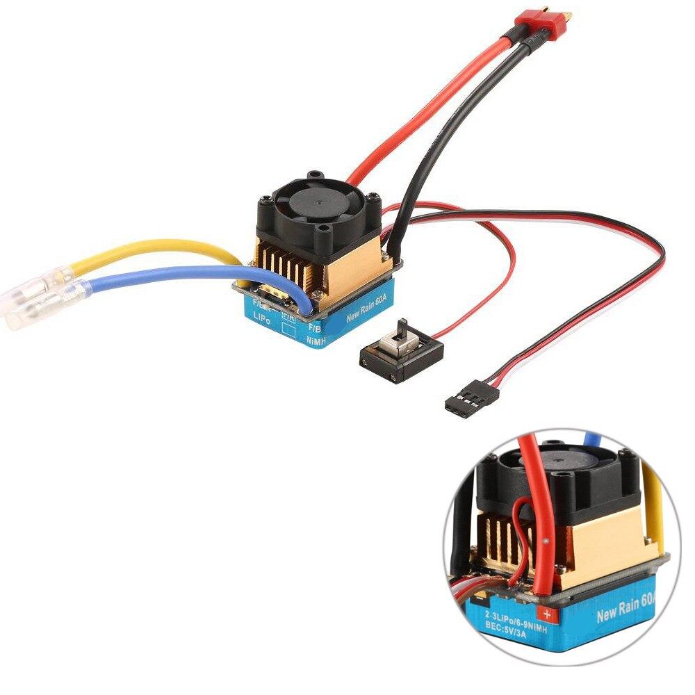 Rc Lipo 2-3/6-9NiMH 60A Regulador de Modo Dual Escova Speed Controller ESC Com Ventilador de Refrigeração Para 1/10 carro Do RC