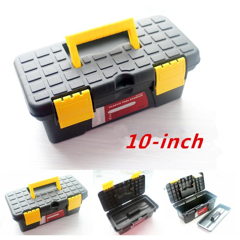 Мини Toolbox ящик для инструмента Toolbox сундук Пластик модель черный желтый 10 дюймов ...