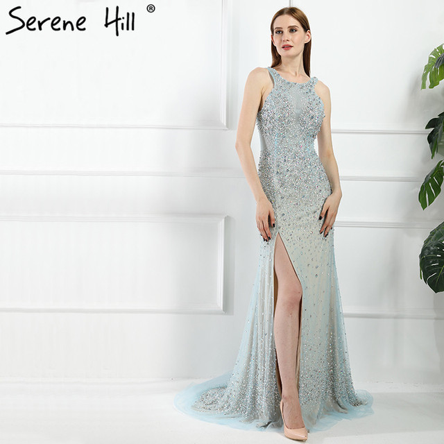 23a15f7a40d Sexy Side Split Mint Mermaid Evening Dresses Luxury Crystal Beaded Prom  Dress Party Robe De Soiree Real Pictures BLA6195