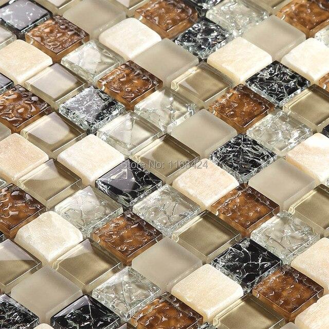 Brown Mixed White And Black Color Gl Mosaic Tiles For Kitchen Backsplash Tile Bathroom Shower Fireplace