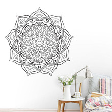 ZOOYOO Most Popular Vinyl Art Wall Decals Mandala Flower Home Decor Indian Religious Pattern Wall Sticker zooyoo believer home decor wall stickers indian mandala pattern vinyl art wall decals murals bedroom