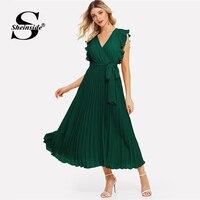 Sheinside Green V Neck Ruffle Trim Long Wrap Dress Elegant Sleeveless Women Summer Dresses 2019 Ladies A Line Pleated Dress