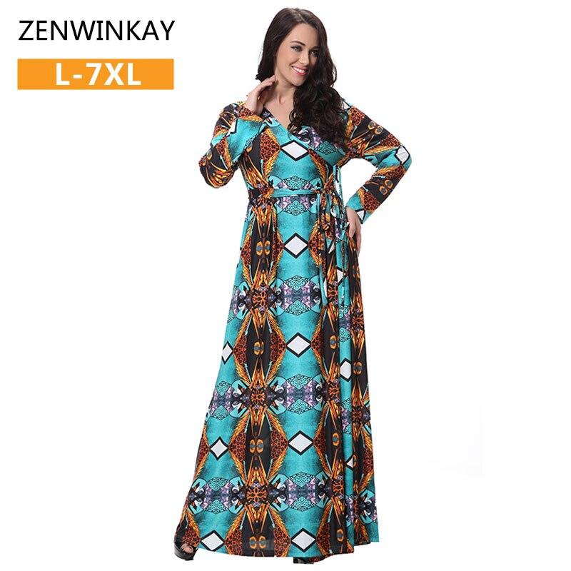 Automne Printemps 2017 Robes À Manches Longues Dress Hiver Femmes Boho Dress Maxi Plein Essor Robes Plus La Taille 2xl 3xl 4xl 5xl 6xl 7xl