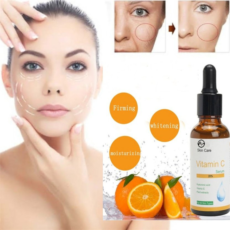 Minch 100% Pure Natural Vitamin C Serum 10ml 20% Serum For Face Skin Hyaluronic Acid Anti Aging Whitening Face Skin Care Oil