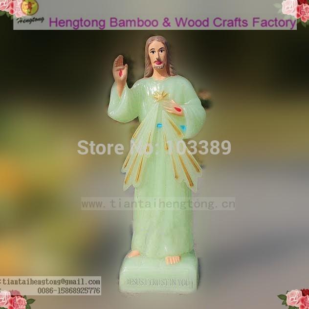 (1pieces per lot) cheap plastic grow in the dark luminous religious jesus statue relgious saint statue catholic icon free ship