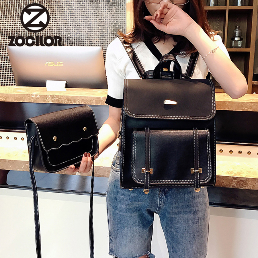 Two Sets Fashion  Women Backpack High Quality Pu Leather Backpacks Teenage Girls Female School Backpack Shoulder Bag