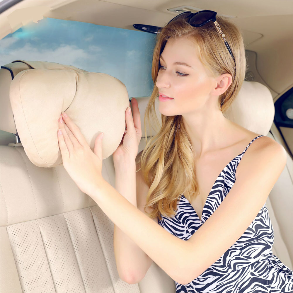 2Pcs Maybach Design S Class Ultra Soft Natrual Car Headrest Neck Seat Cushion Covers For Benz A B C E CLS GLS GLE GLC GLA