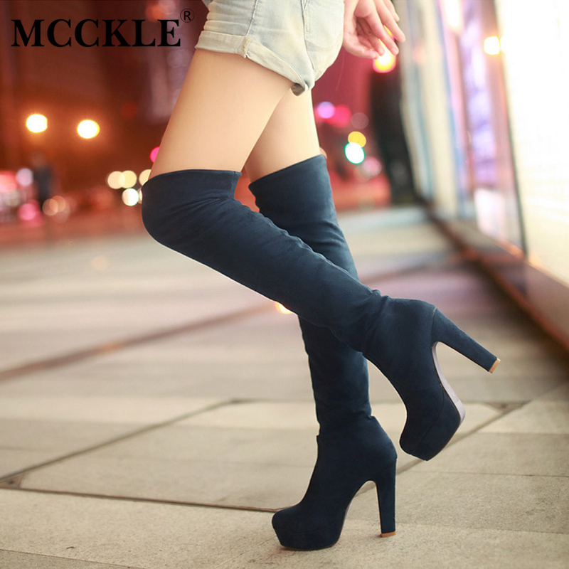 MCCKLE Women High Heels Slip On Over the Knee Sexy Long Boots Female Platform Ankle Patchwork Flock Two Ways Wear Plus Size mcckle 2017 ladies fashion sexy autumn winter ankle boots female slip on zip black solid platform high heels plus size34 43