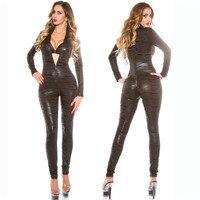 Porno Lenceria Sexy Underwear Women Leopard Stripes Double Zipper Open Crotch Latex Teddy Babydoll Pole Dance Erotic Clothes