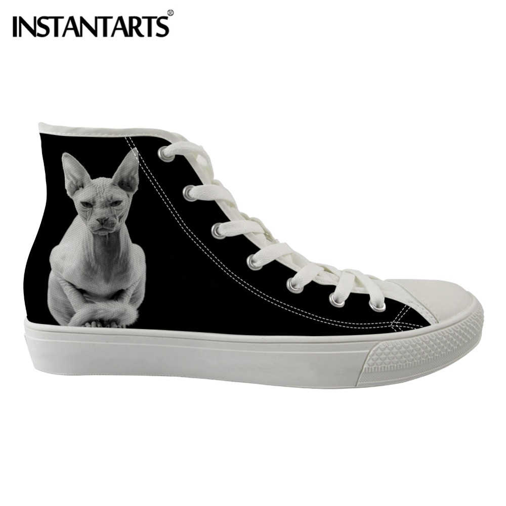 INSTANTARTS Canadian Hairless Cats Women Flats Shoes High Top Lace Up Casual School Student Walking Sneakers
