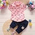 Мальчики Лето Рубашка + Брюки 2 шт. Наборы детские младенческой Корейские Рубашки Шорты детская одежда 1-2-3-4 лет прилив