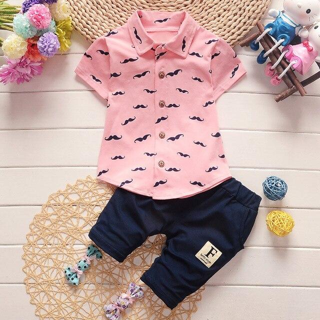 77d385e50 Boys Summer Shirt + Pants 2 pcs Sets baby infant Korean Shirts ...