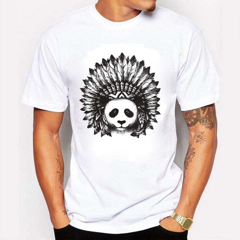 Nové Pánské Módní Indické Panda Tištěné T-shirt Cool Tops Krátký rukáv Tees Men Oblečení