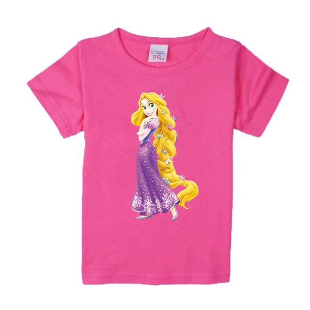 2d37fac7a33 1-8 years baby Girl t-shirt big Girls tee shirts for children girl long  hair princess t shirt 100% cotton kids summer clothes