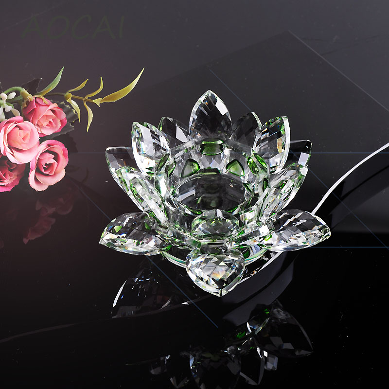 Green Crystal Glass Lotus Flower Candle Holders Wedding Columns Candelabra Centerpieces Holder Home Decor Bowl Candlestick