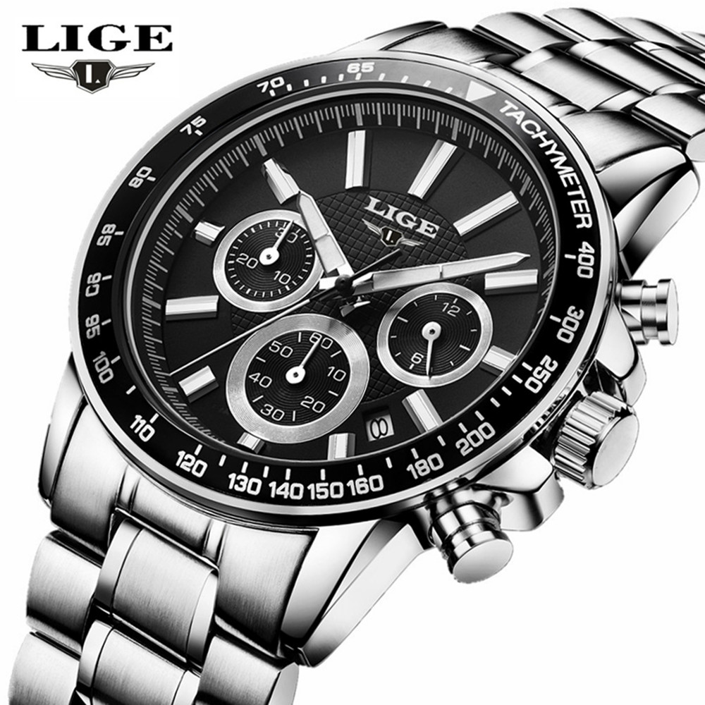 LIGE Top Brand Luxury Mens Sports Watches Quartz Watch Date Clock Leather Strap Fashion Casual Watch Men Military WristWatch