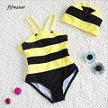 Designer de moda modelagem de Abelhas crianças nadar terno feminino infantil das crianças com tampa de maiô