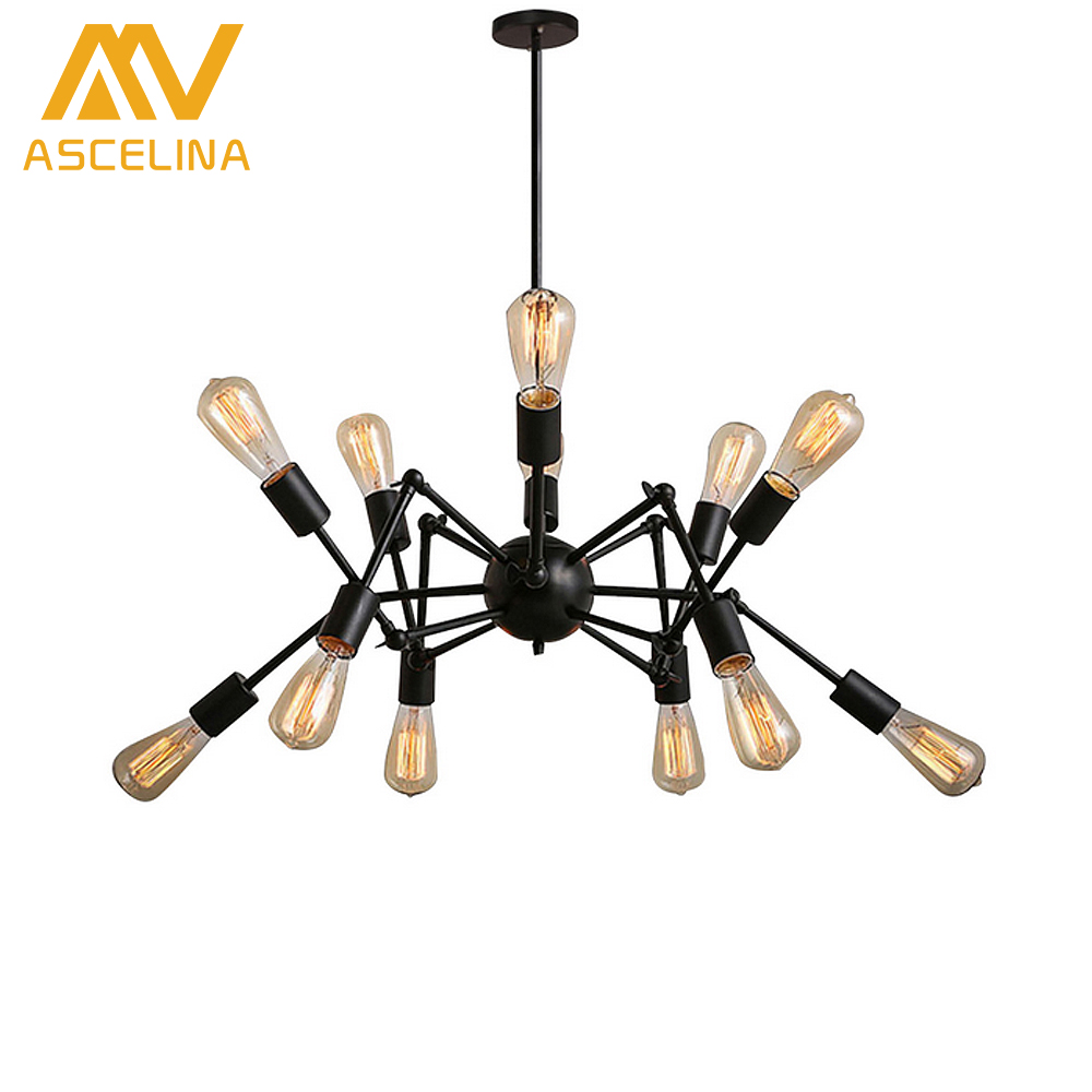 The spider Iron dining room retro Pendant Lights art Creative Retro vintage pendant lights iron  pendant lamp indoor iron black american art creative retro vintage pendant lights spring iron hanging pendant lamp indoor iron black pendant lamp light