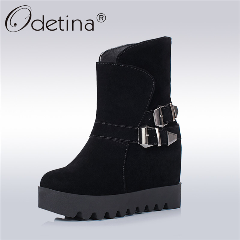 Oritina 2017 Fashion Womens Winter Ankle Buckle Strap Boots Platform Round Toe Slip On Shoes Non-slip Hidden Heel Boots Wedges farvarwo formal retro buckle chelsea boots mens genuine leather flat round toe ankle slip on boot black kanye west winter shoes