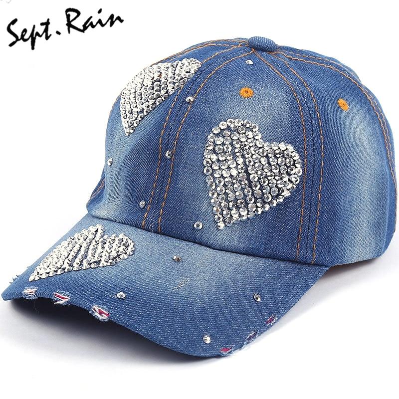 Baseball Caps Love Shape New Fashion Hat Caps Sunshading Men Womens Bbaseball Cap Rhinestone Hat Denim And Cotton Snapback Cap
