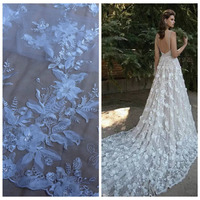 White 3D Flowers Sequins On Netting Mesh Embroidered Wedding Evinging Show Dress Lace Fabric By Yard