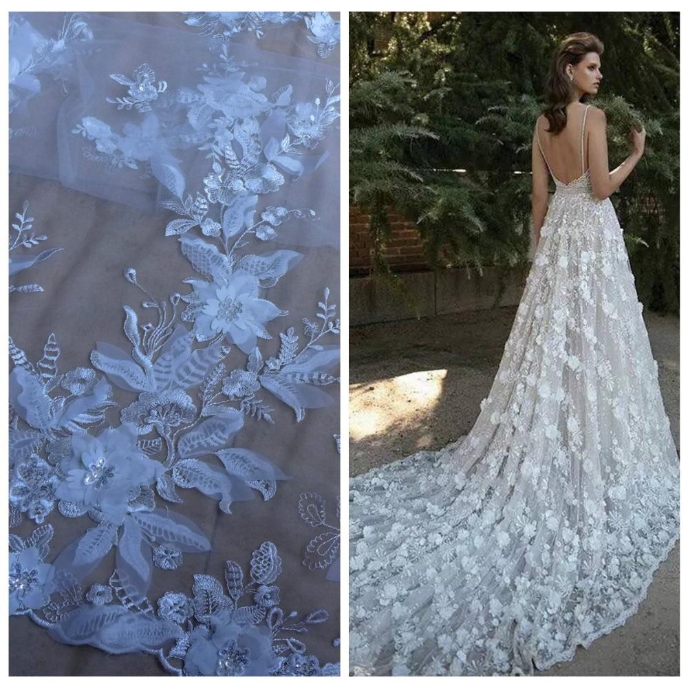 La Belleza 1 yard Off Putih / Hitam 3D bunga sequin pada jaring / mesh bordir pernikahan / evinging / acara gaun kain renda