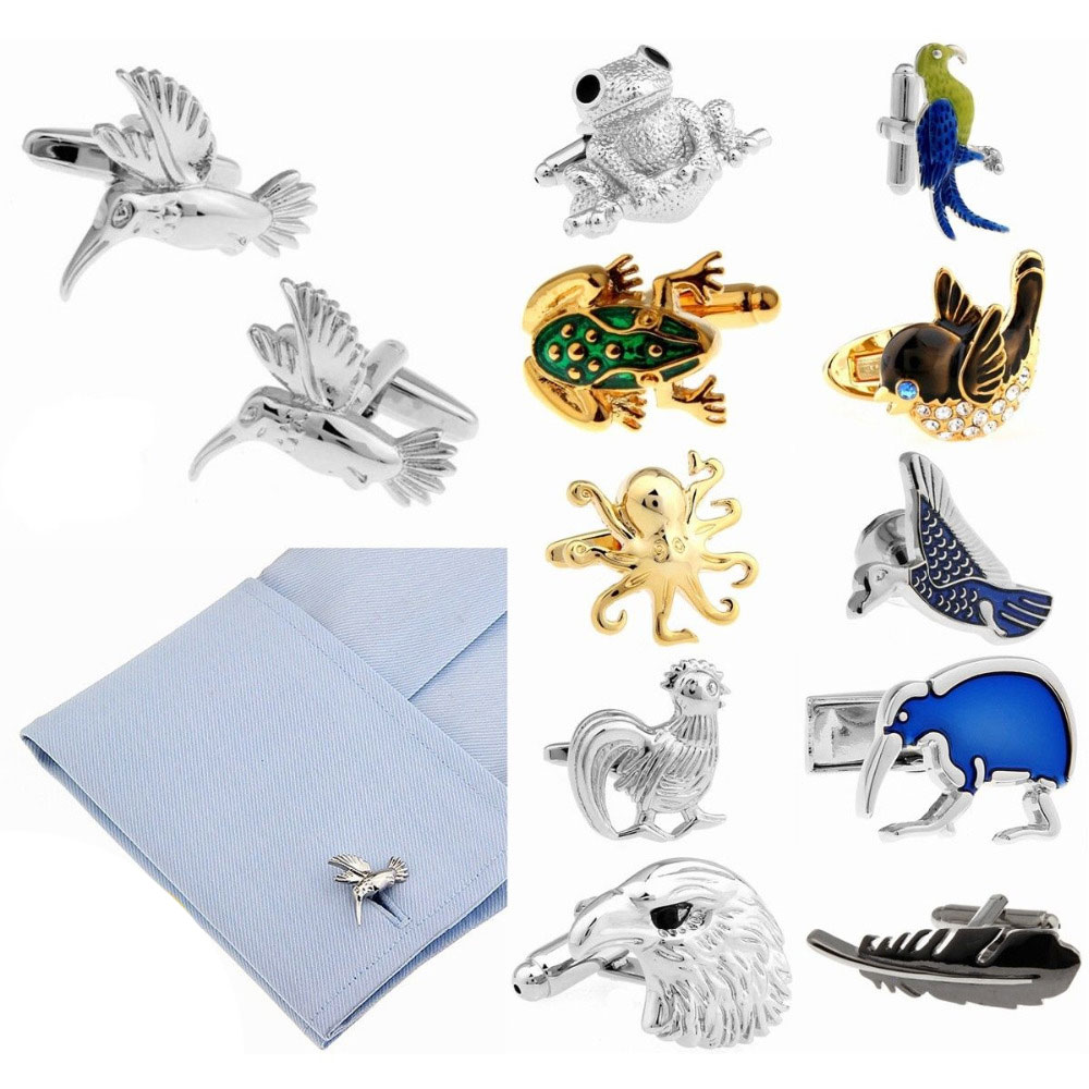 Mens Wedding Cufflinks Novelty Funny Animal & Clean Cloth