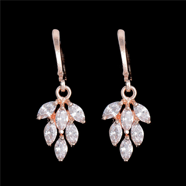 H:HYDE Fashion Red Dangle Jewelry Women/Girl's Gold Color CZ Zircon Leaves Drop
