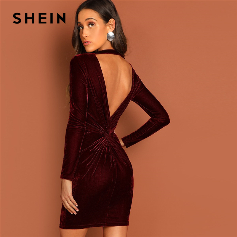 SHEIN Burgundy Cutout And Twist Back Velvet Bodycon Dress Solid Short Backless Elegant Sexy Dress Autumn Women Party Dresses