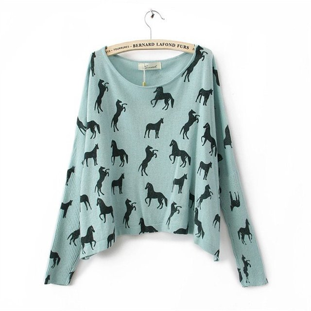 Cute Pullover Horse Prints Long Dolman Sleeves T-shirt Short Tee Brand White Tees Loose O-neck Top Knitwear Women Casual Sweater