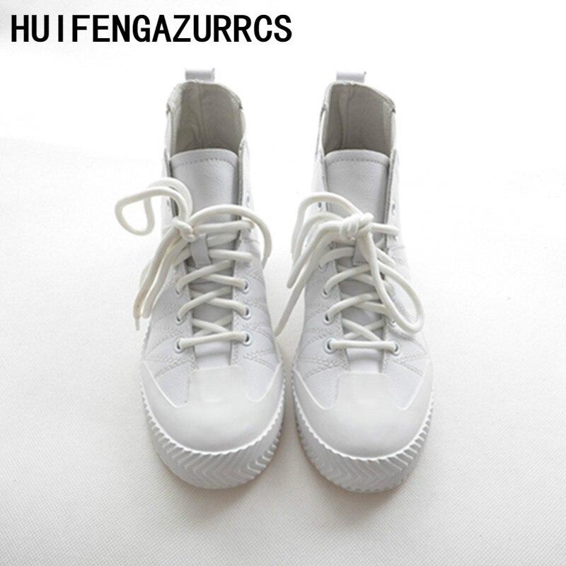 Casual Ronde Tête Fond Beige Haute Sport Chaussures white Cuir En Huifengazurrcs Coréenne Profil nouveau Chaussures Véritable Version Blanc Plat S7qqxawgp