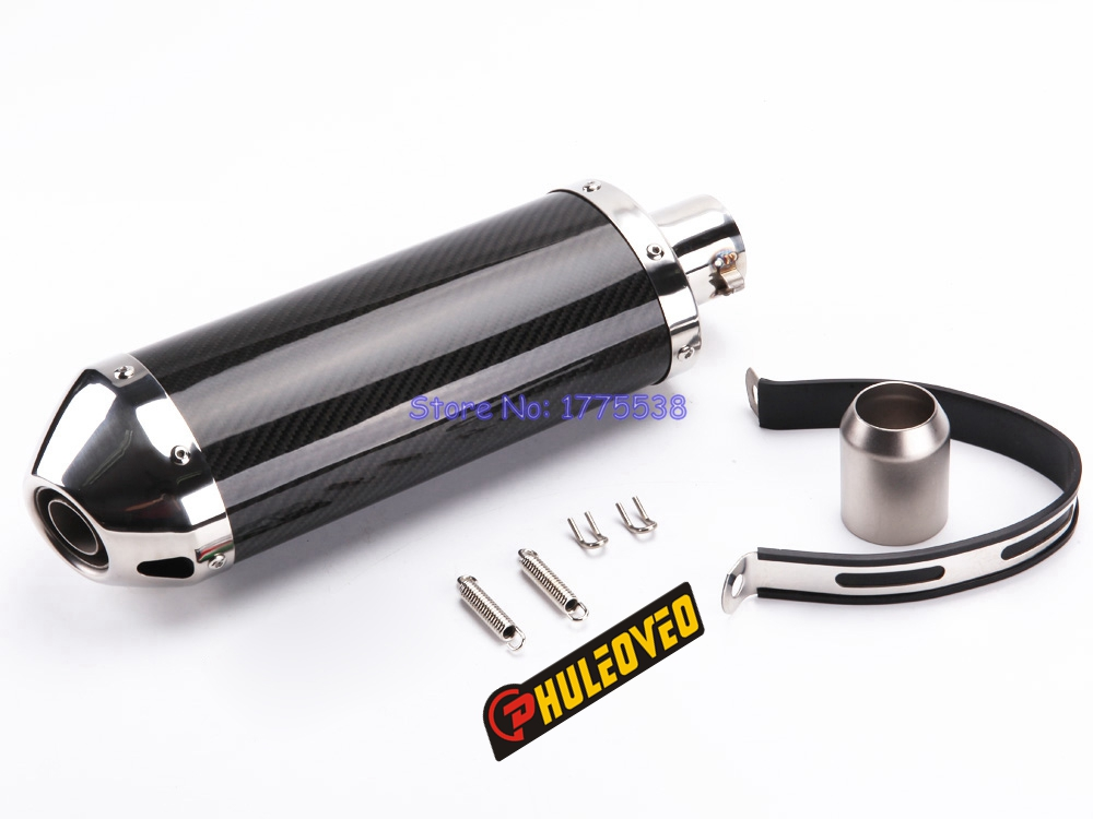 PHULEOVEO ID:51mm Carbon Fiber Motorcycle Motorbike Exhaust Muffler Pipe Escape with DB Killer for Z250 R25 FZ1N Ninja 250 NK400 full real carbon fiber id 61mm 51 motorcycle universal exhaust muffler pipe with detachable db killer by cnc craft scooter atv