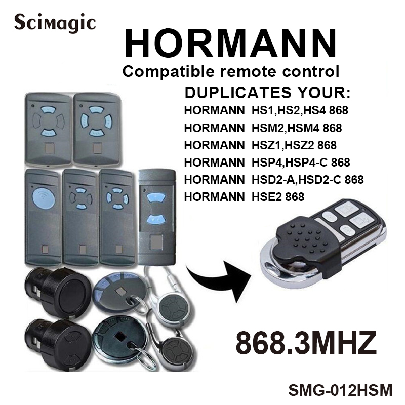 HORMANN Compatible Remote Control 868 MHz Transmitter Hormann HS1 868, HS2 868, HS4 868, Garage Door Duplicator