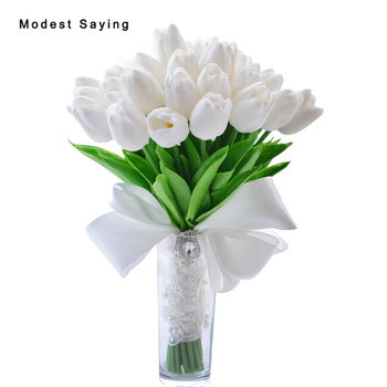 Pack with Box Romantic Artificial Tulip Flowers Wedding Bouquets 2017 for Outer Garden Wedding Bridal Bridesmaid Holding Bouquet