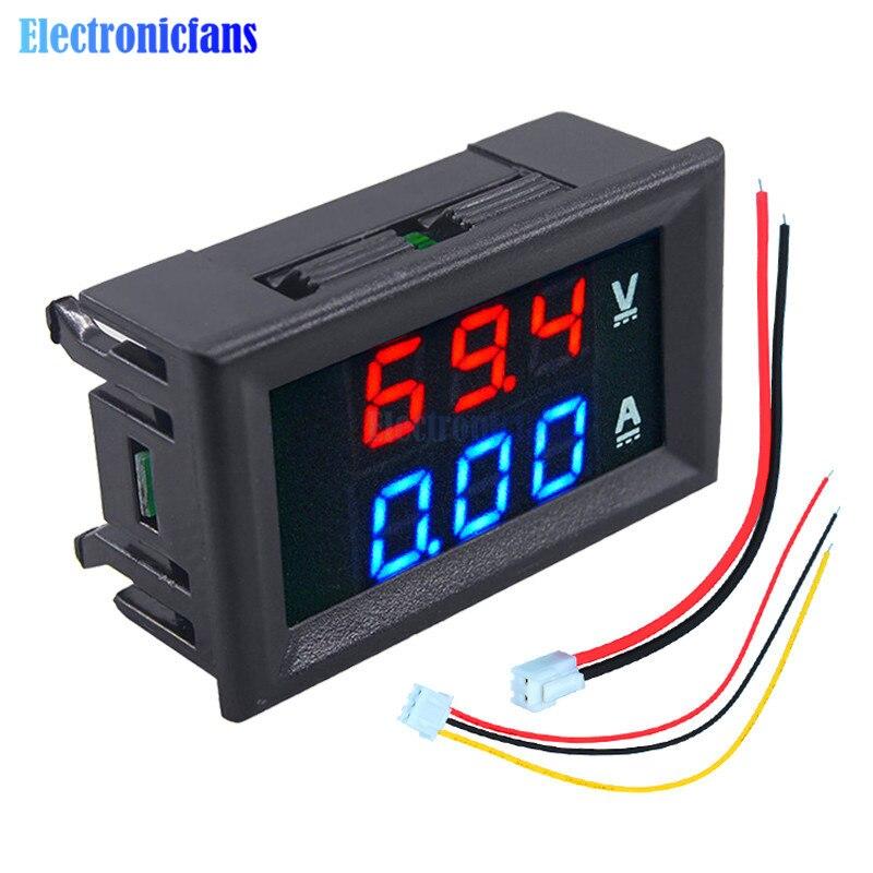 """Mini Digital Voltmeter Ammeter DC 100V 10A Panel Amp Volt Current Meter Tester 0.56"""" Blue + Red Dual LED Display With Lines"""