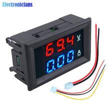 """Мини цифровой вольтметр Амперметр постоянного тока 100 в 10 А Панель Ампер Вольтметр измеритель тока тестер 0,5"""" синий+ красный двойной светодиодный дисплей с линиями"""