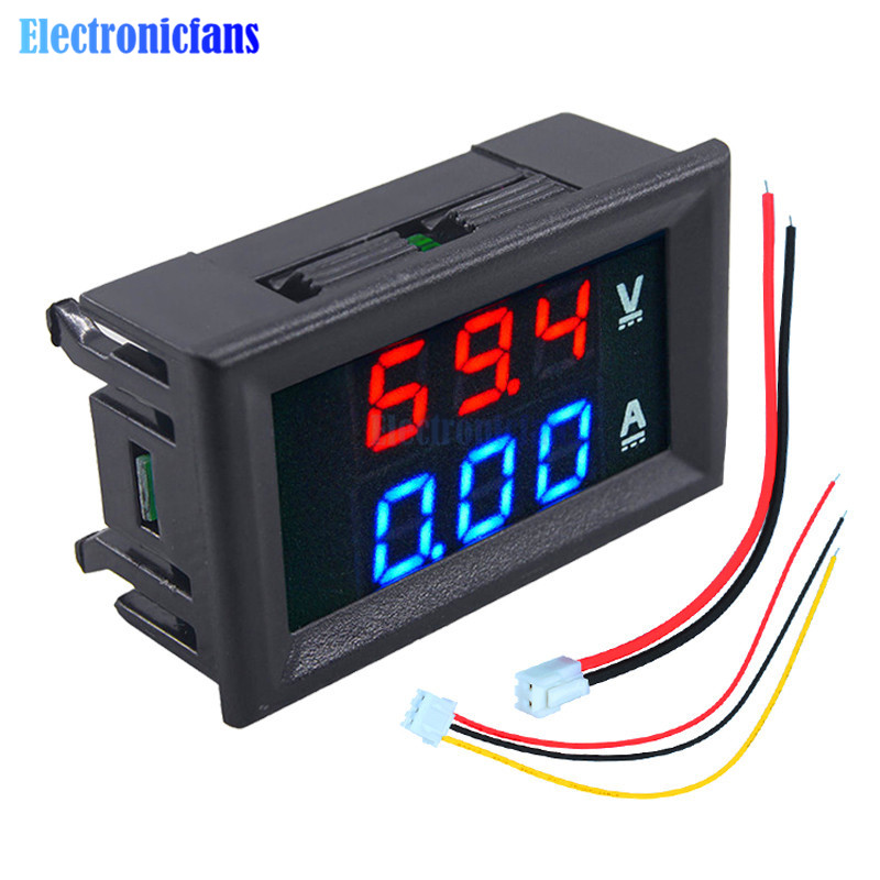 "Mini Digital Voltmeter Ammeter DC 100V 10A Panel Amp Volt Current Meter Tester 0.56"" Blue + Red Dual LED Display With Lines"
