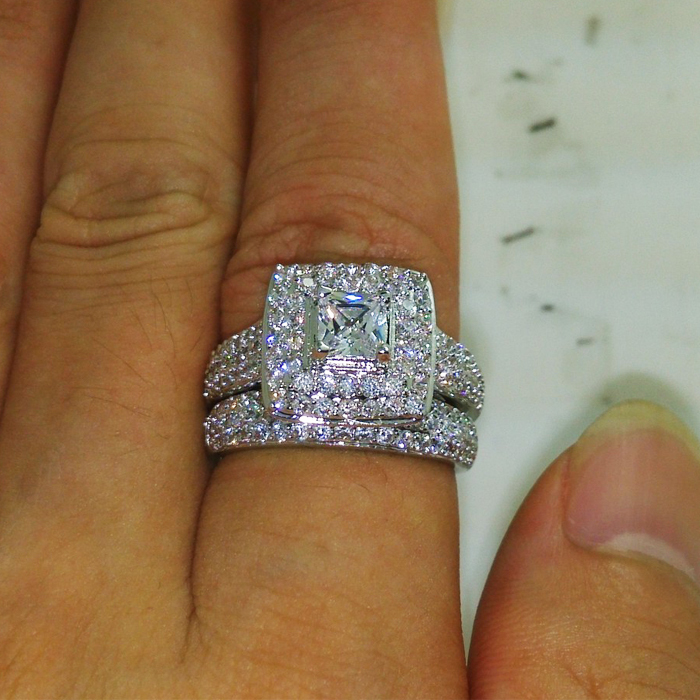 2015 hot fashion Luxury 134Pcs Simulated Diamond wedding Band love ...