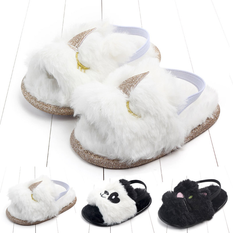 Baby sandals girls baby summer Kids Shoes Lovely Plush Toddler Princess Non-slip Crib Slippers Gifts shoes Gift