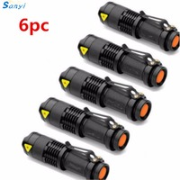 6PCS/lot LED Torch Mini Q5 LED Flashlight 2000LM Adjustable Focus Zoomable Flash Light Lamp Use AA/14500 Battery for Camping