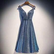Блестящее небесное коктейльное платье миди элегантное вечернее платье голубого цвета для женщин Элегантное коктейльное платье вечернее платье TS222