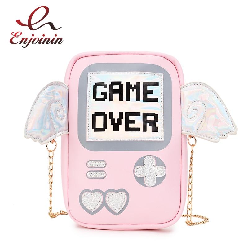 New Fun Cute Fashion Personality Letter Game Shape Laser Wings Mini Clutch Purse Flap Ladies Chain Shoulder Bag Messenger Bag