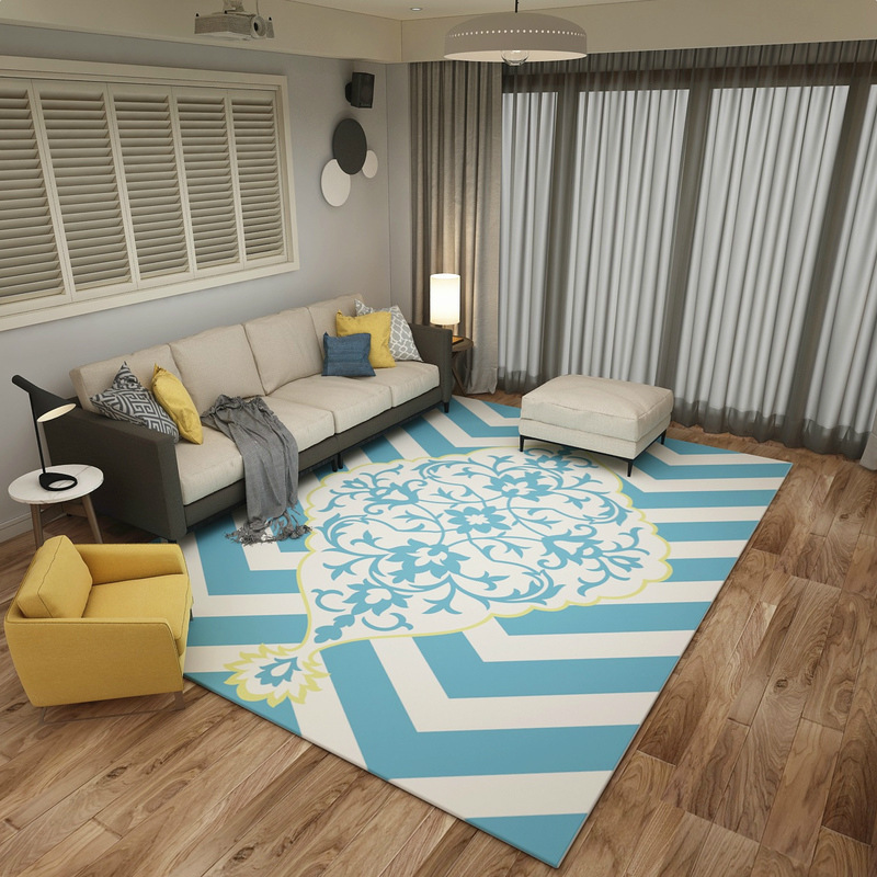 Mediterranean Blue style Carpets Living room coffee table Anchor pattern Printed Rug Modern bedroom Super Soft Flannel Carpet - 4