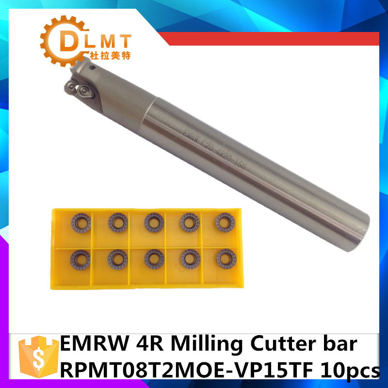 EMR C10 4R10 120 EMR C16 4R16 150 +10Psc RPMT08T2 Indexable Shoulder End Mill Arbor Cutting Tools, Milling Cutter Holder free shiping1pcs aju c10 10 100 10pcs ccmt060204 dia 10mm insertable bore drilling end mill cutting tools arbor for ccmt060204