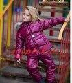 2016 chaqueta de invierno Traje Para La Nieve ropa del juego de los niños abajo cubre niño en el suelo bebé conjunto cuello de piel roja grande traje de chaqueta y pantalón de esquí